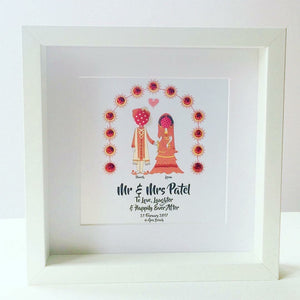Button Stick People Indian Wedding Frame
