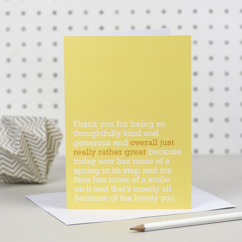 Overall Just Really Rather Great' Thank You Card