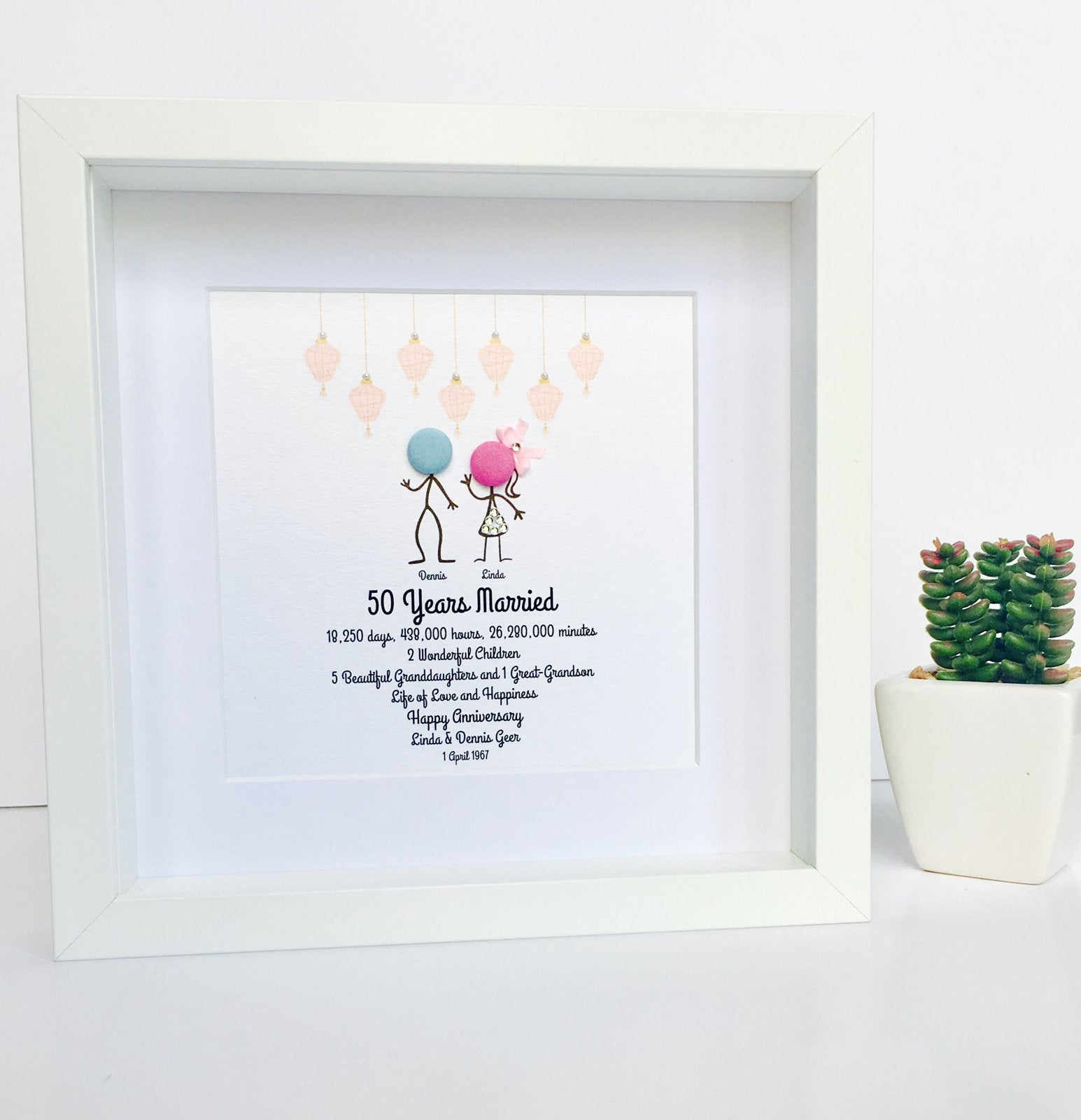 Anniversary Frame – Beauty and The Button
