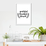 Grateful Thankful Blessed Framed Print