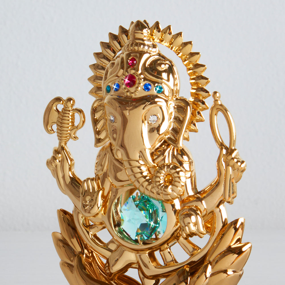 Lord Ganesh Ganapati 24K Gold Plated Antique Green Swarovski Crystal