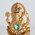 Lord Ganesha Ganapati 24K Gold Plated Antique Green Swarovski Crystal
