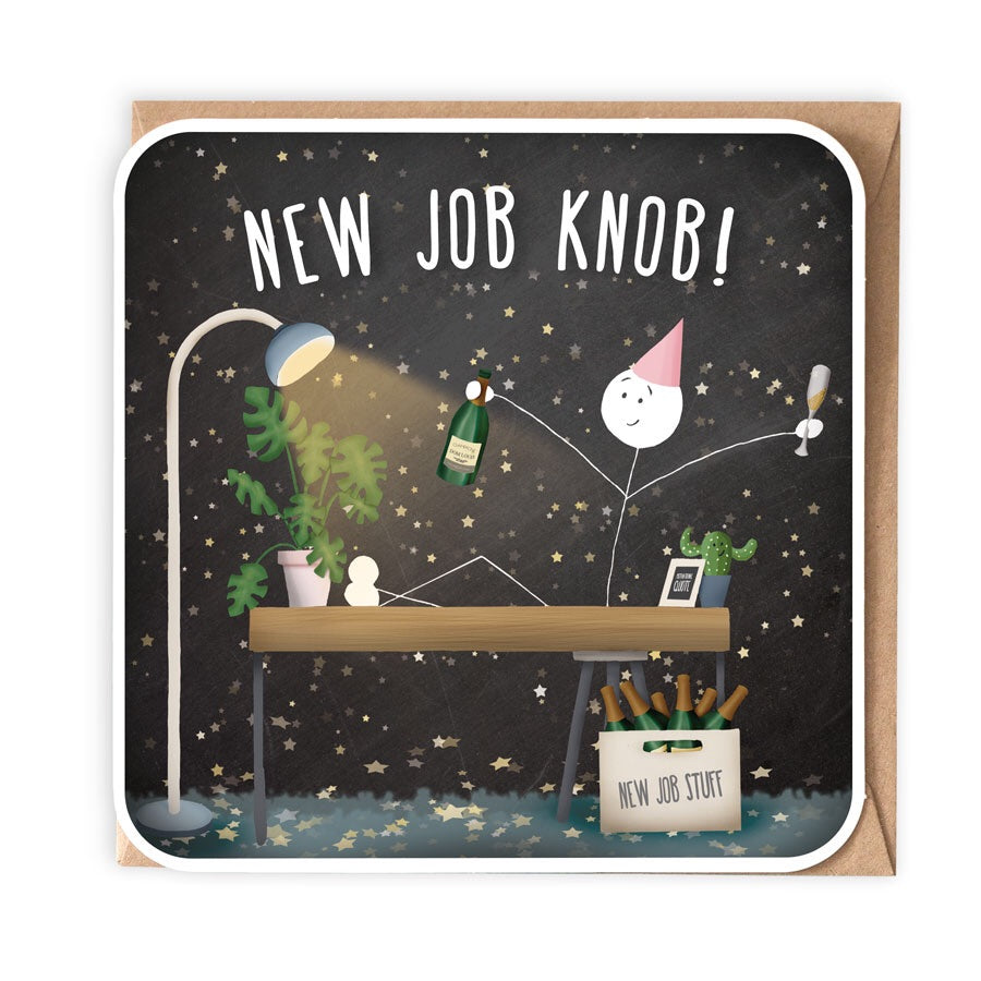 NEW JOB KNOB GREETING CARD