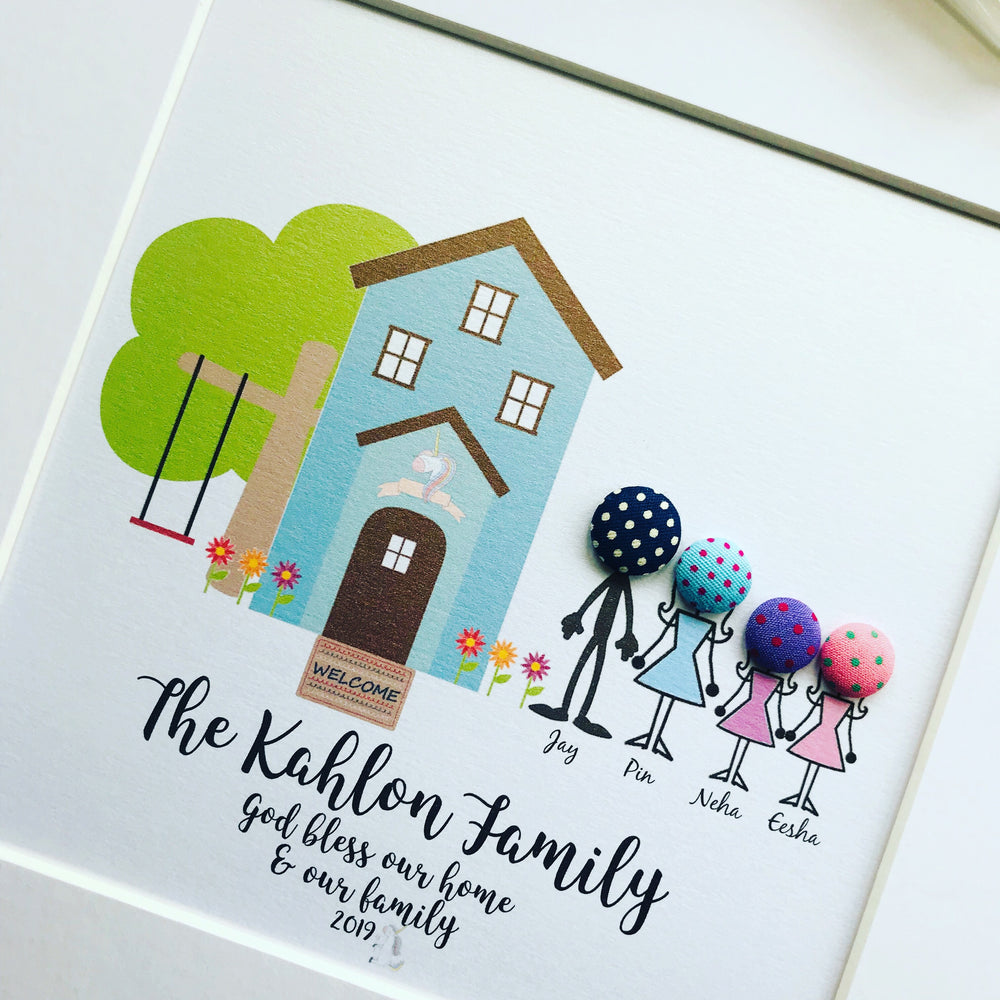 Button Stick Figures Family Frame For Home