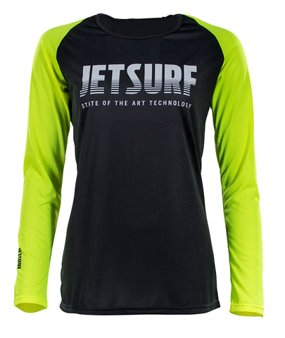 JetSurf T-shirt DRYFIT LONG SLEEVE BLACK/FLUO YELLOW W