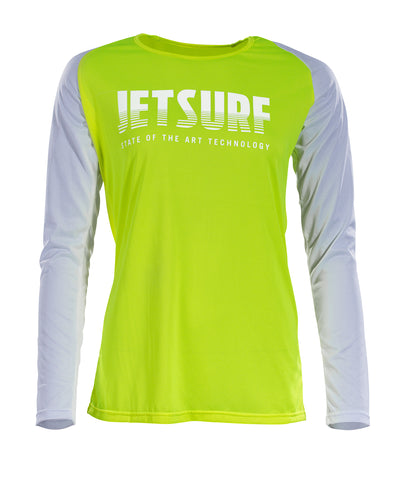 JetSurf T-shirt DRYFIT LONG SLEEVE SHIRT FLUO YELLOW/WHITE W