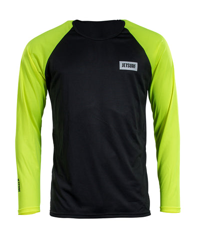 JetSurf T-shirt DRYFIT LONG SLEEVE BLACK/FLUO YELLOW