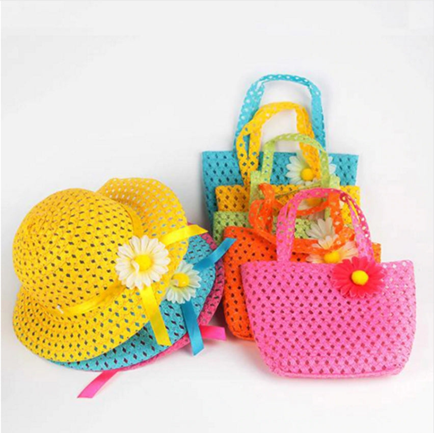 Beach Floral Hat+Bag 2Pcs Set