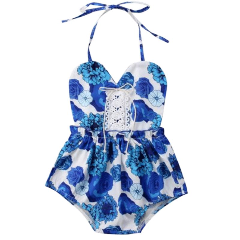 Blue Summer Halter Romper