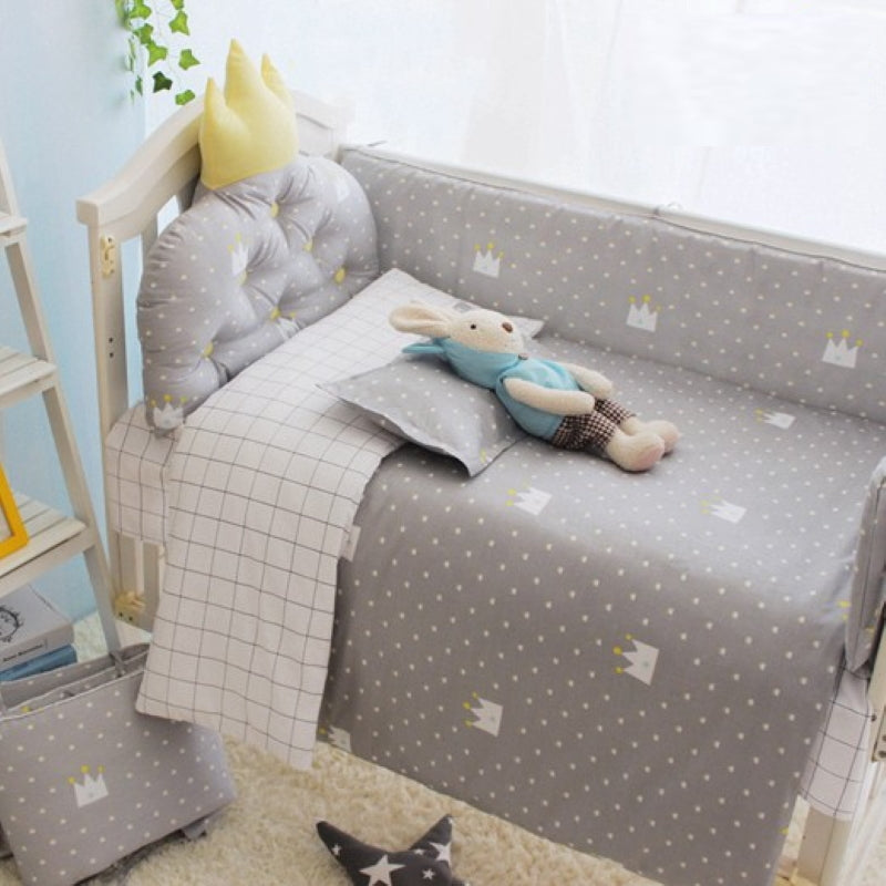 Grey Crown Baby Bedding Set