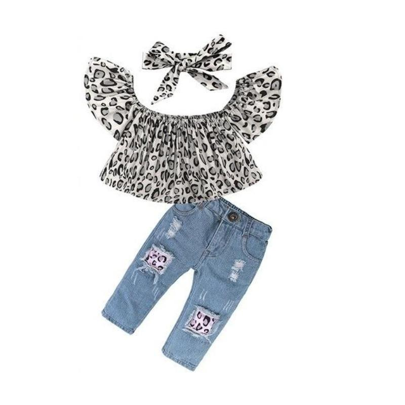 Leopard Top +Jeans +Headband