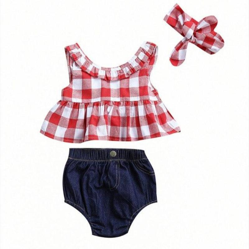 Cute 3pcs Plaid Set