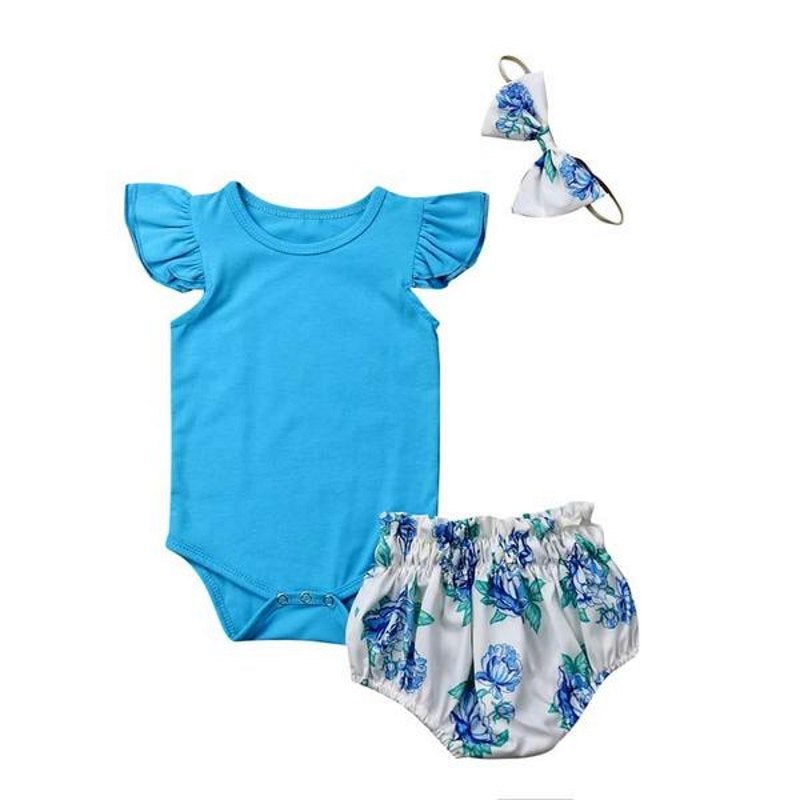 Cute Blue Floral 3 Pcs Set