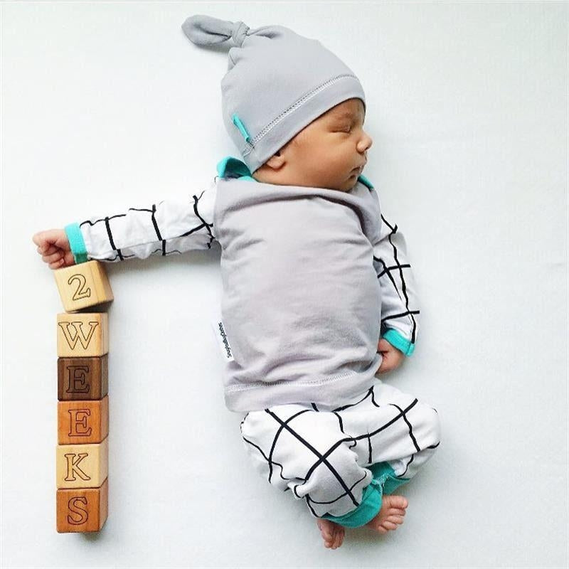 Plaid Newborn 3Pcs Set
