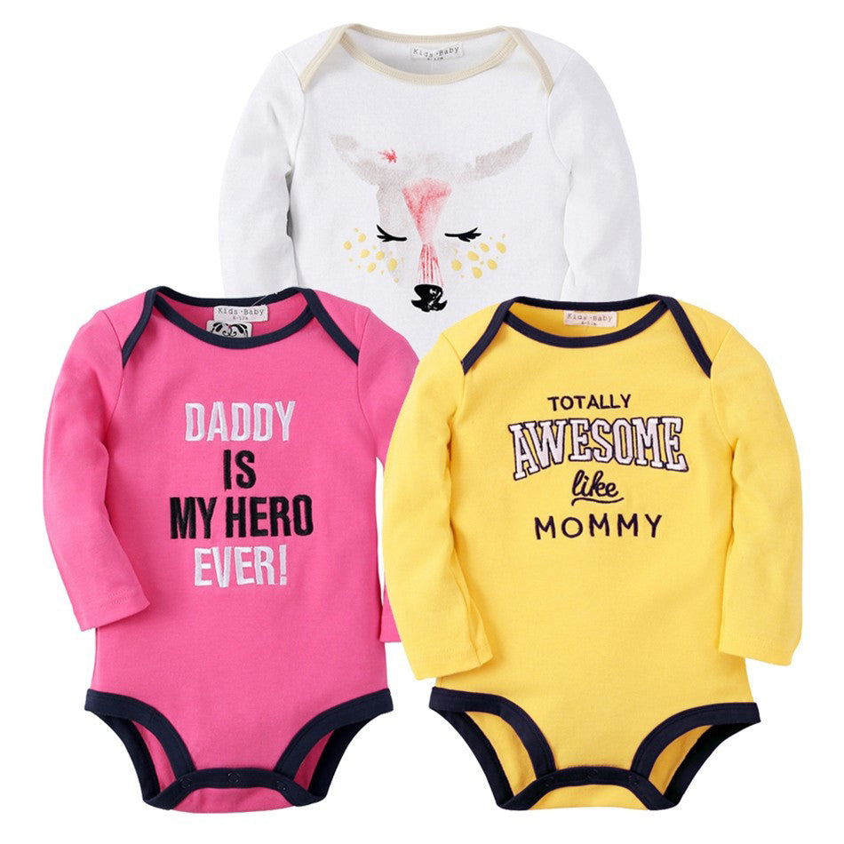 3Pcs Longsleeve Printed Bodysuit Set