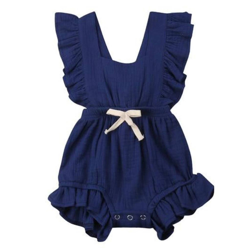 Ruffled Backless Bow Romper