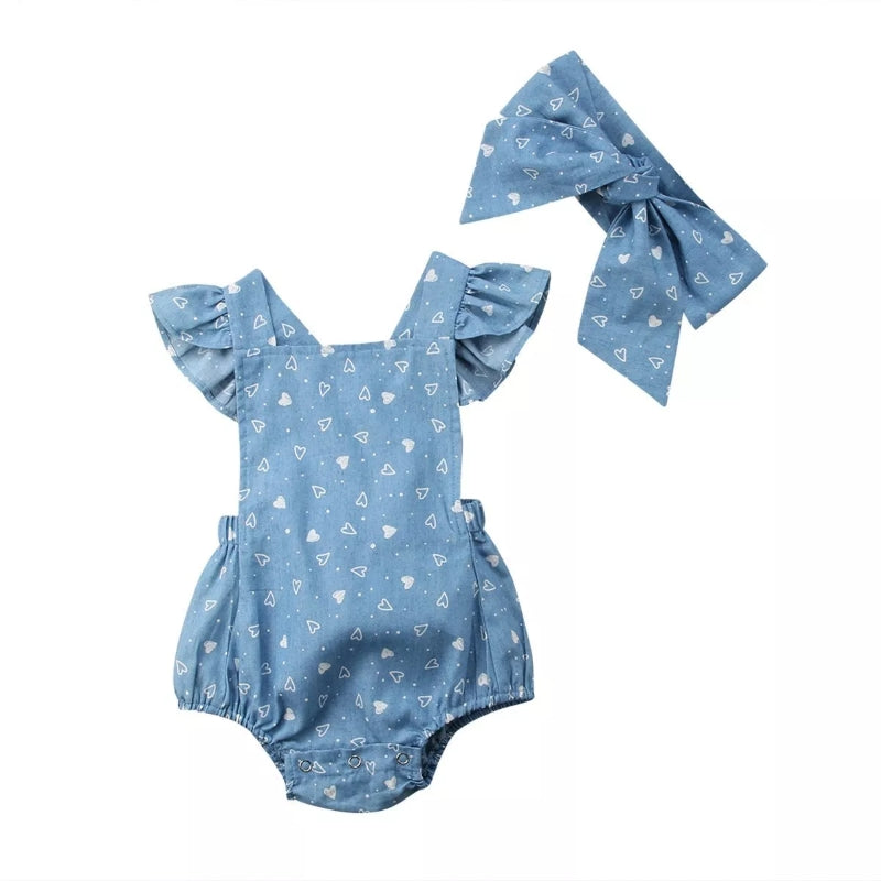 Baby Girls Heart Romper +Headband