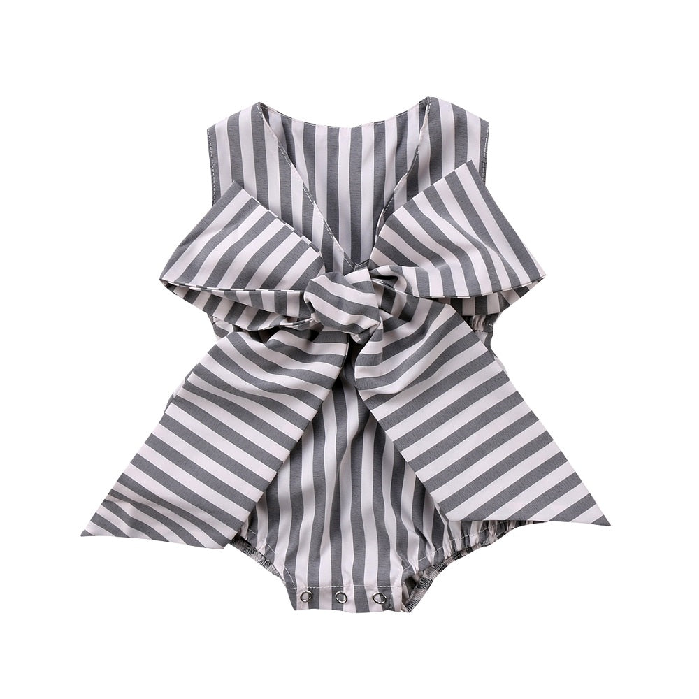 Stripes and Bowknot Sleeveless Romper