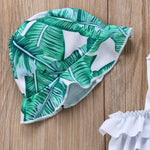 Palm Ruffled Tankini With Hat