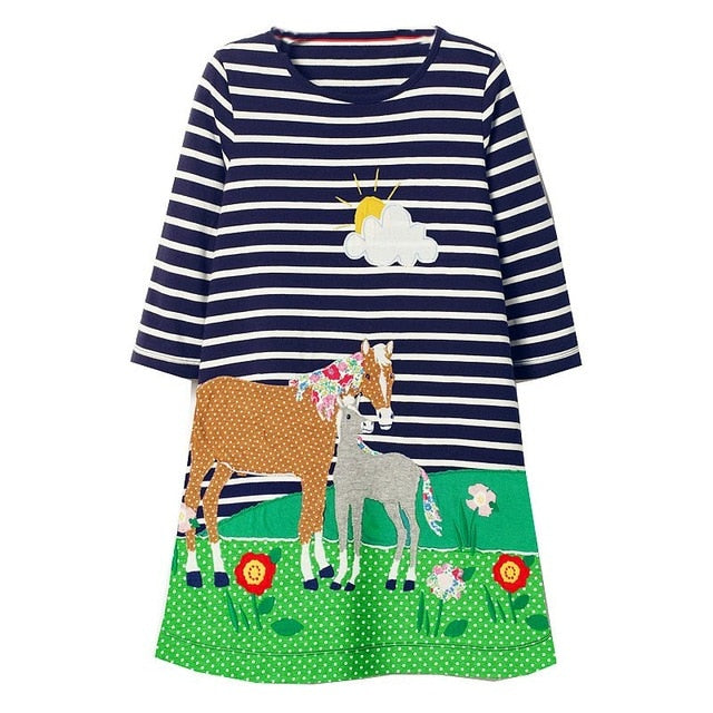Cute Horse Long Sleeves Dress