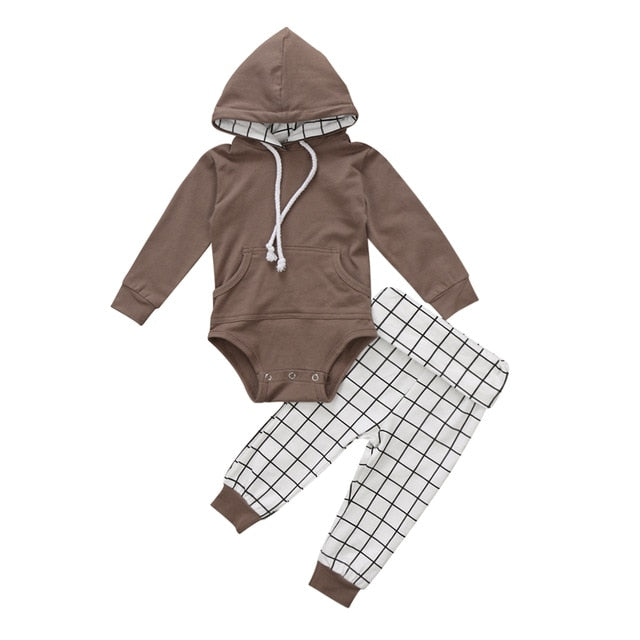 Hooded Romper + Long Plaid Pants 2Pcs Set