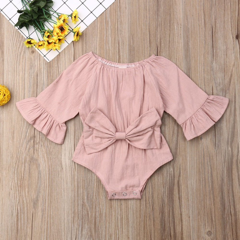 Long Sleeves Bowknot Romper