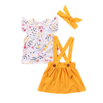 Cute Floral Shirt+Overalls Shorts+ Headband 3Pcs Set