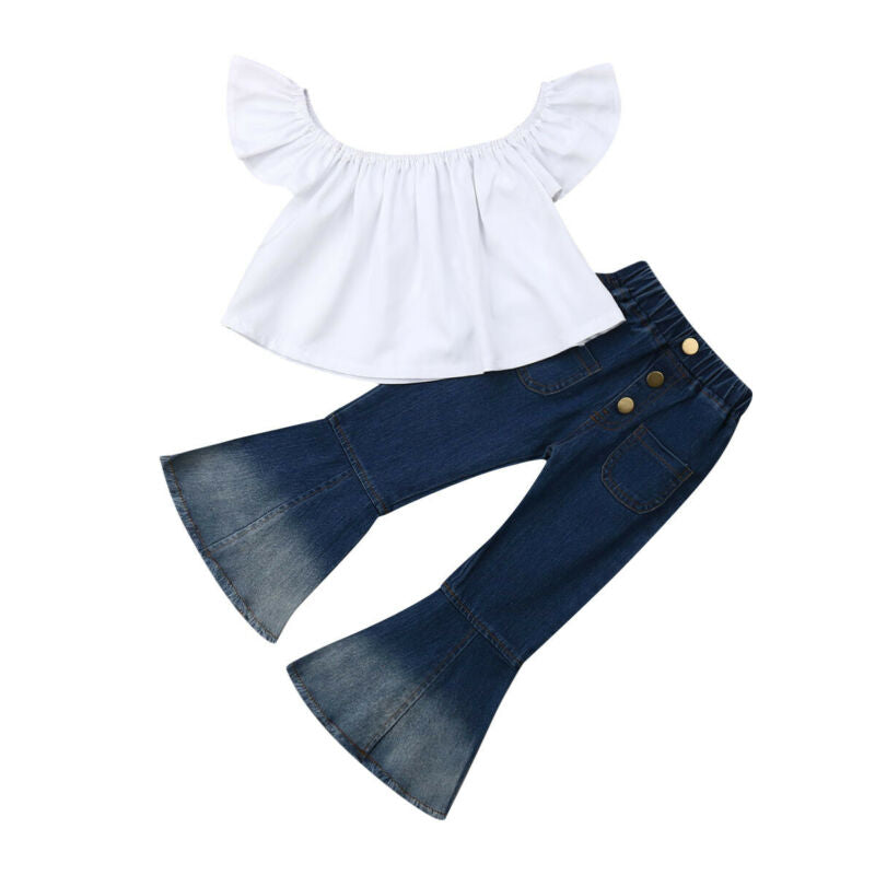 Sweet White Tops+ Stylish Bell Bottom Jeans 2Pcs Set