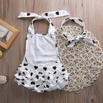 2Pcs B&W Jumpsuit+Headband Set