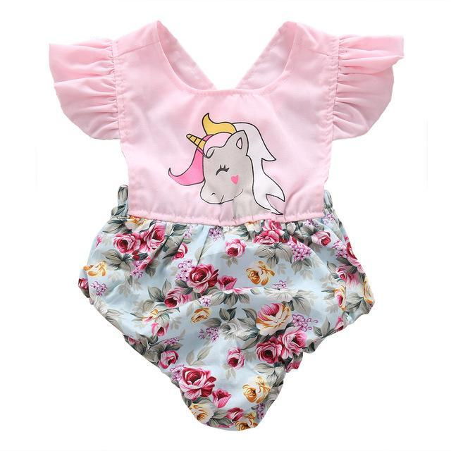 Lovely Floral Unicorn Romper