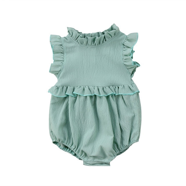 Ruffled O-Neck Sleeveless Romper