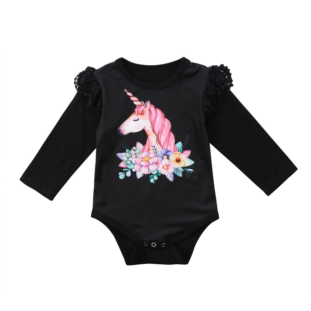 Black Unicorn Romper