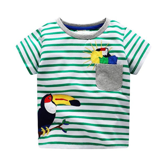 Summer Striped Toucan Print Tee