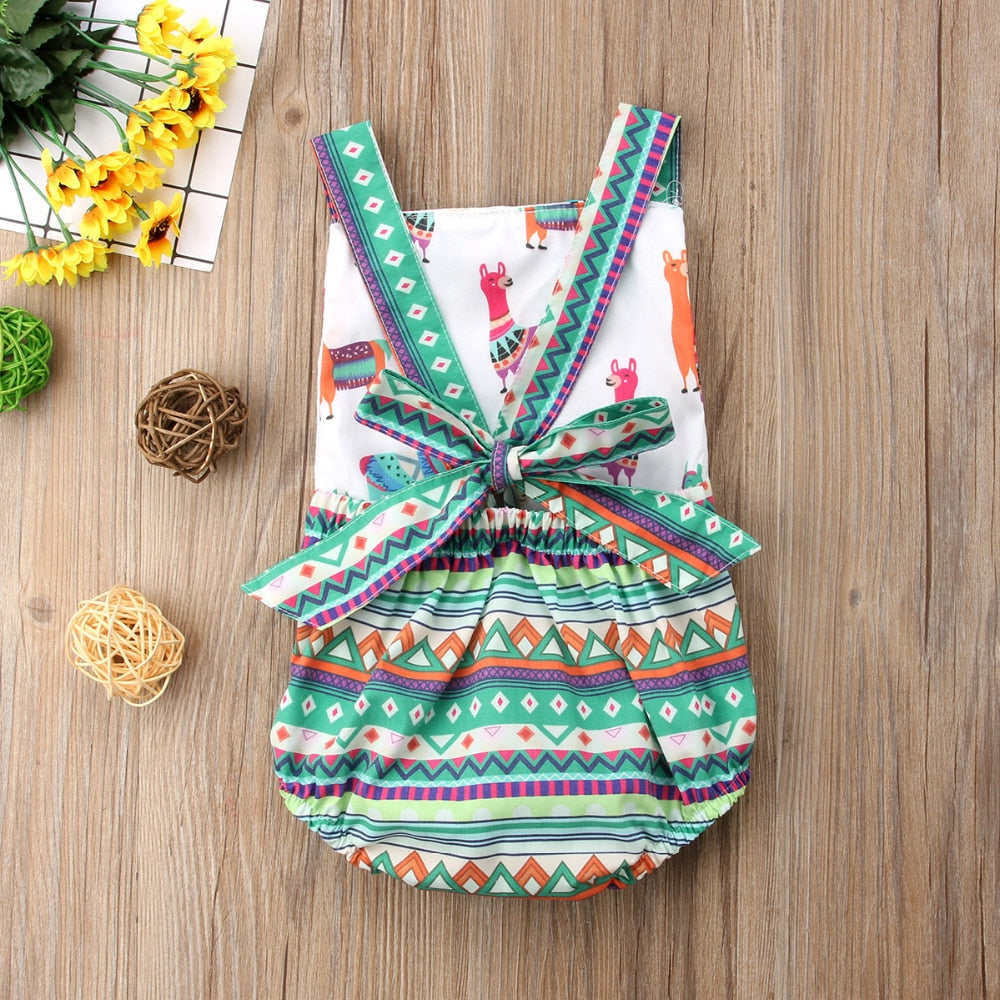 Colorful Aztec Romper with Open Back