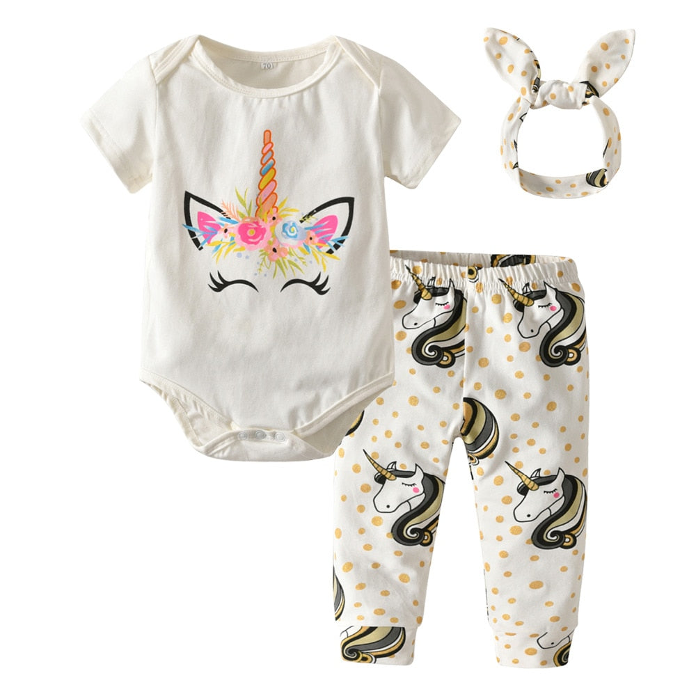 Lovely 3Pcs Unicorn Romper+Pants+Headband