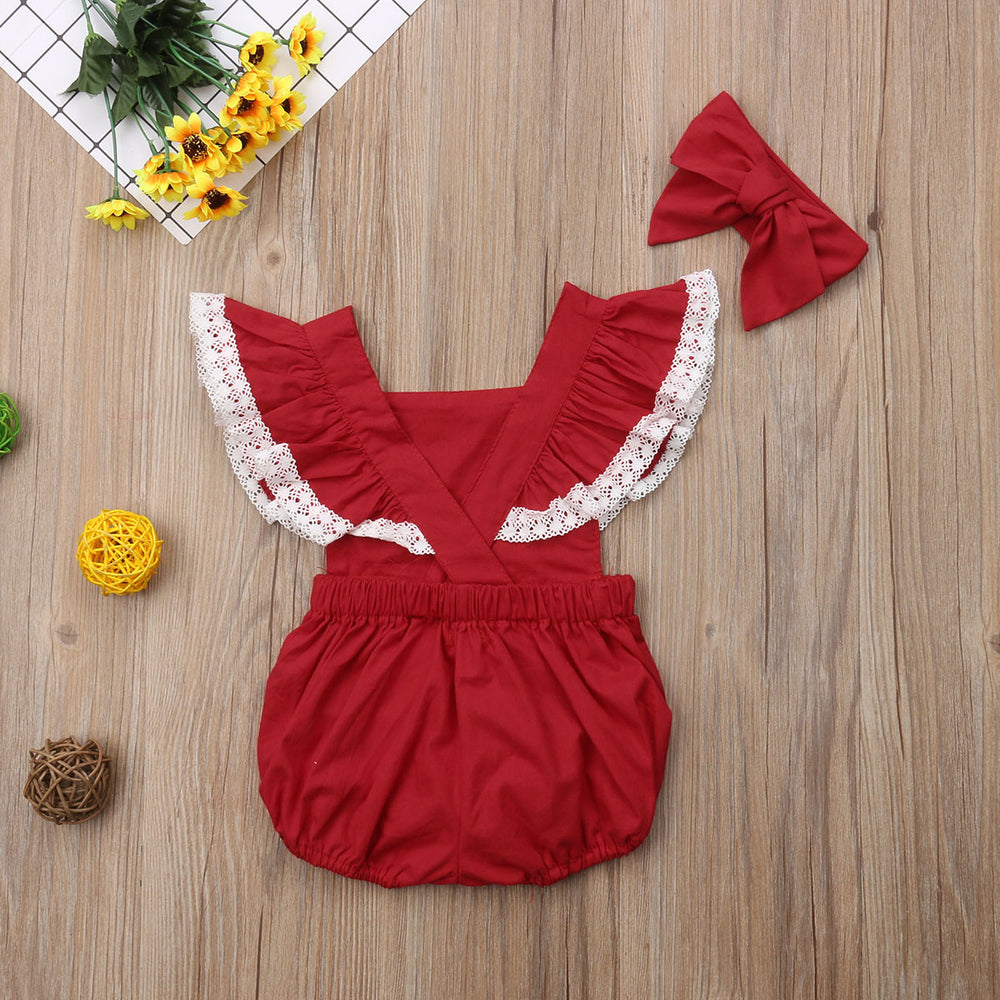 Lace Ruffled Romper and Bowtie