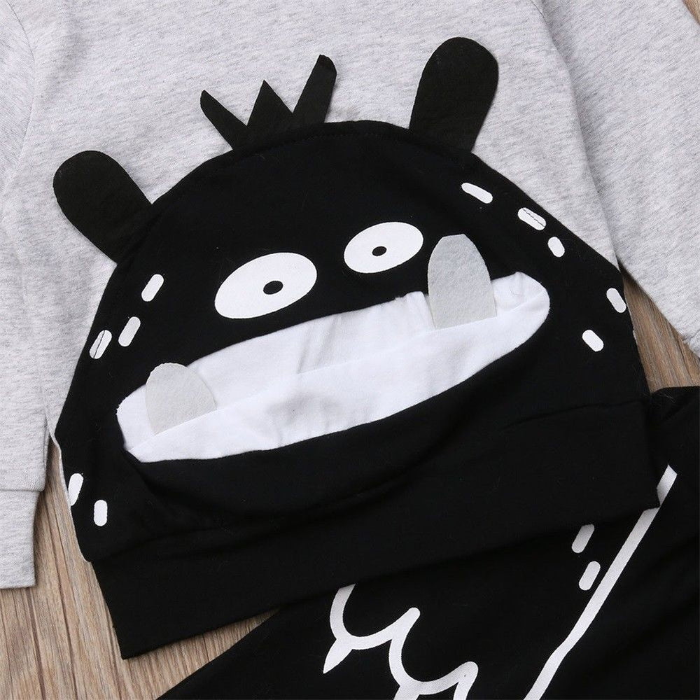 Cute Monster Sweatershirt +Pants 2pcs Set