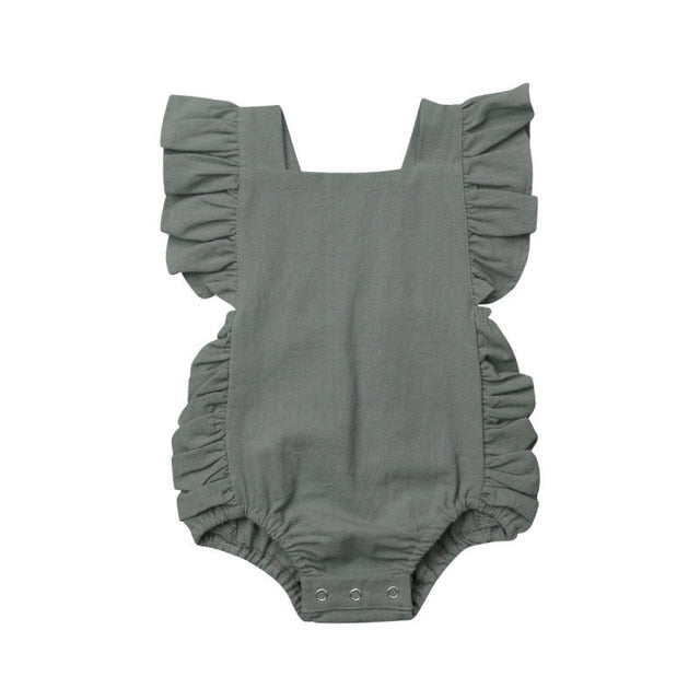 Solid Ruffle Sleeveless Romper