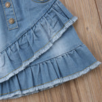 Ruffled High Waist Blue Jeans Skirt