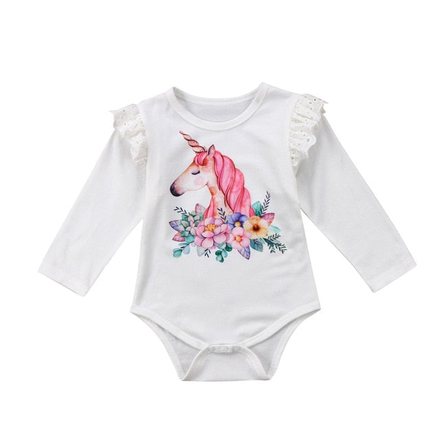 White Lace Unicorn Romper