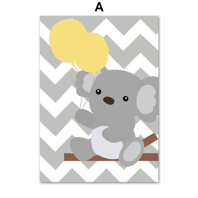 Gray Cartoon Wall Art