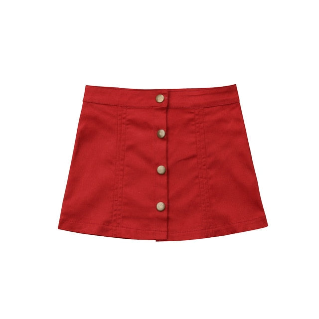 A-Line Button Mini Skirt