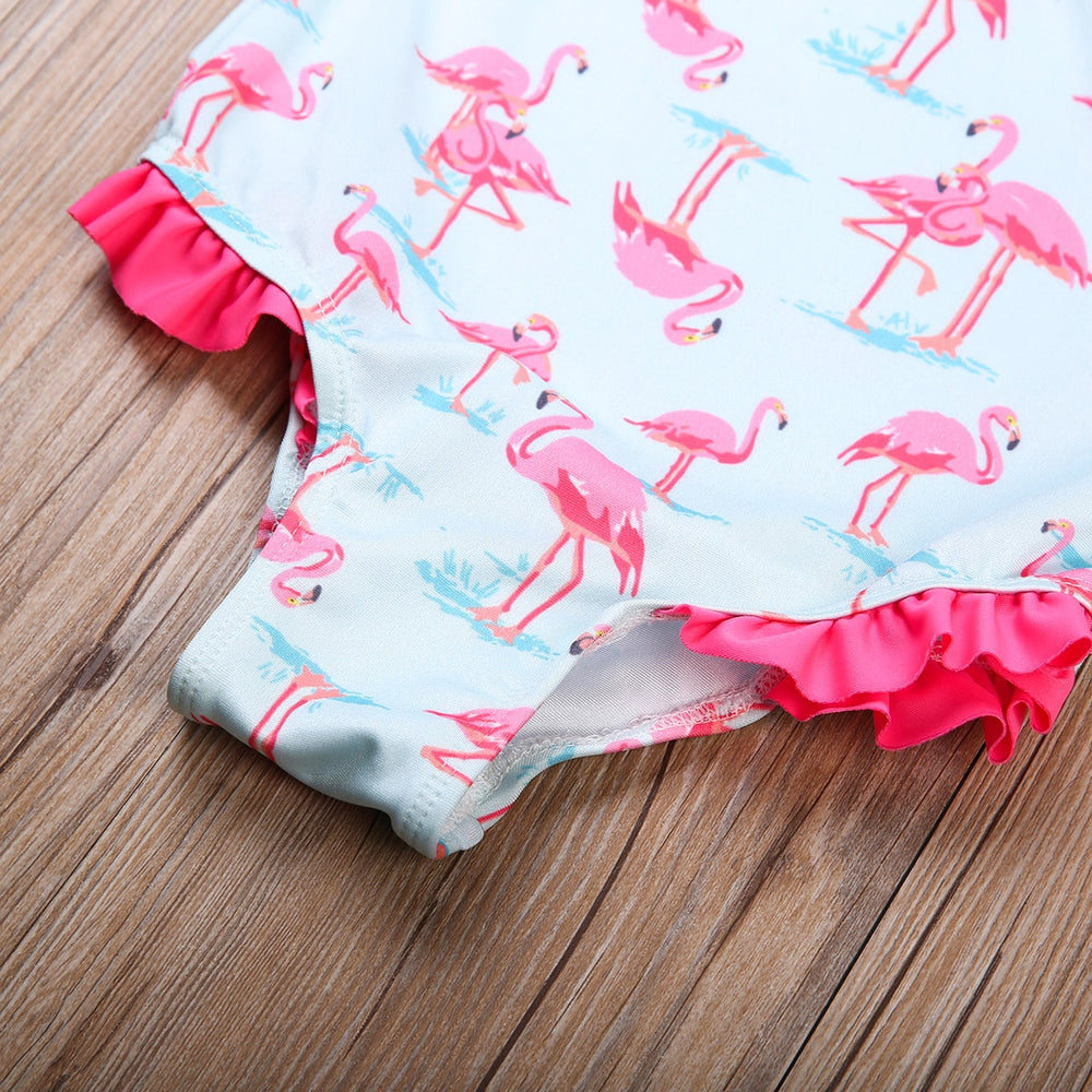 Girls Flamingo Bathing Suit