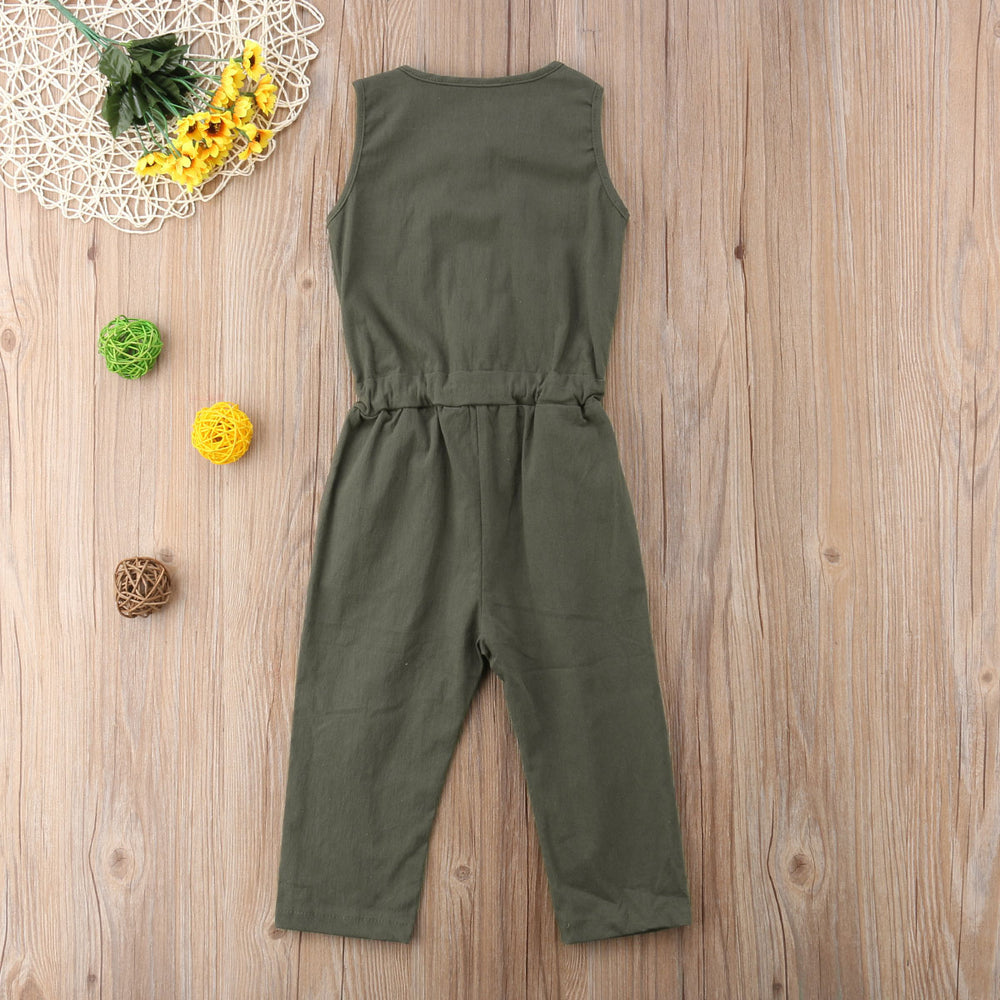 Sleeveless Army Green Belt Jumpsuit
