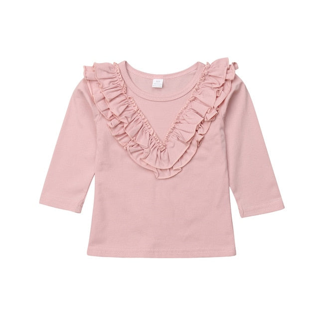 Ruffled Collar Long Sleeve Tops