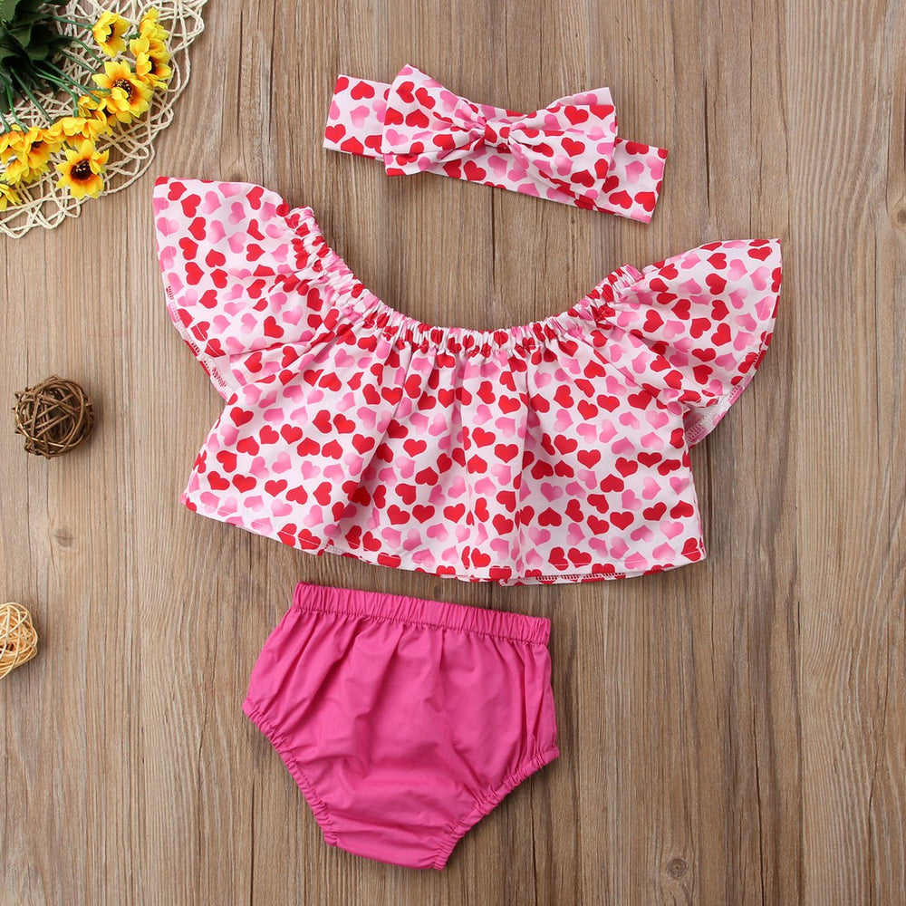 3Pcs Off Shoulder Top+ Shorts+  Headband