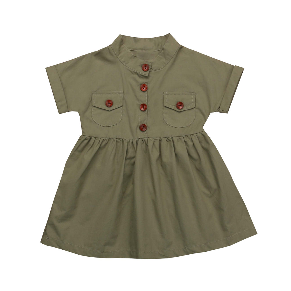 Army Green Button Dress