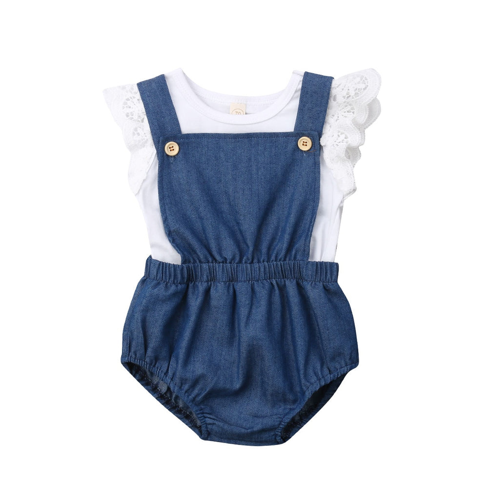 2 Pcs Lace Top T-shirt+Denim Romper Overall