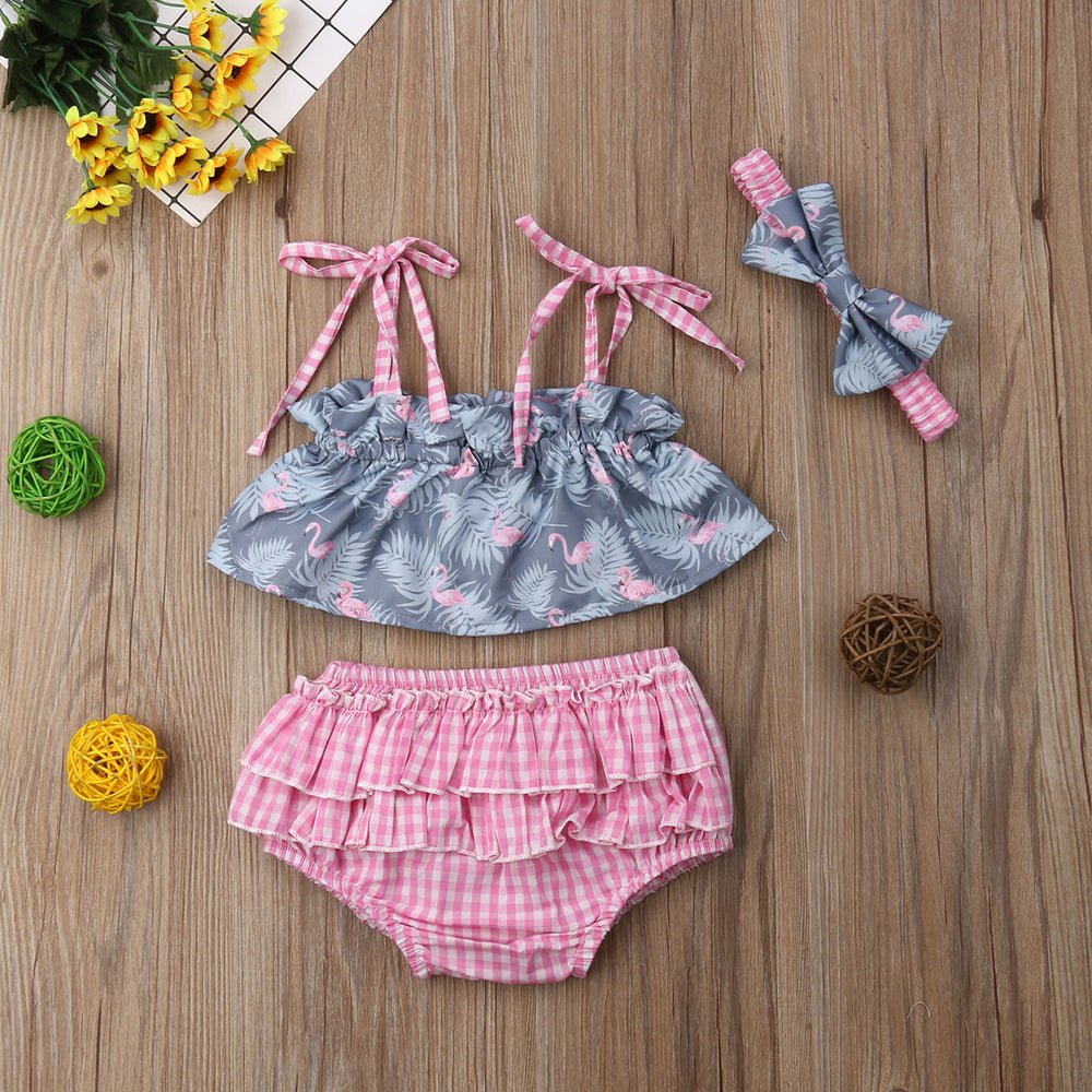 3Pcs Off Shoulder Floral Top+Shorts+Headband