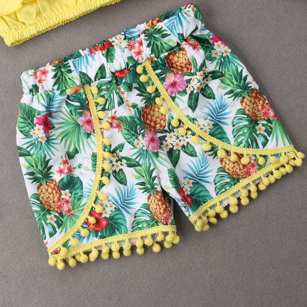 2 Pcs Ruffle Sleeveless Crop Top + Floral Shorts